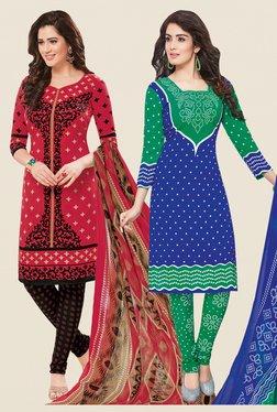 Salwar Studio Coral & Blue Dress Material (Pack Of 2)