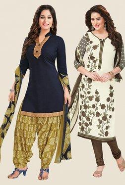 Salwar Studio Navy & Cream Dress Material (Pack Of 2)