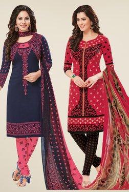 Salwar Studio Navy & Coral Dress Material (Pack Of 2)