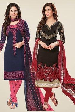 Salwar Studio Navy & Black Dress Material (Pack Of 2) - Mp000000000697200