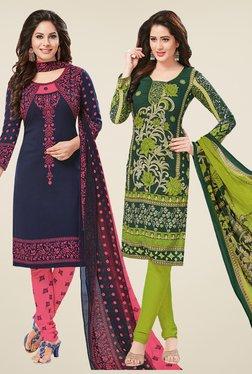Salwar Studio Navy & Green Dress Material (Pack Of 2)