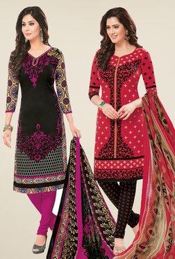 Salwar Studio Black & Coral Dress Material (Pack Of 2)