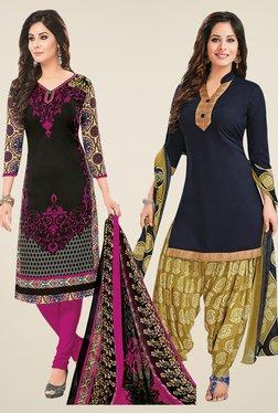 Salwar Studio Black & Navy Dress Material (Pack Of 2) - Mp000000000697270
