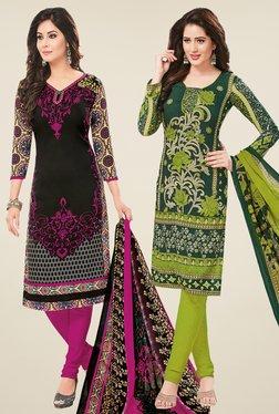 Salwar Studio Black & Green Dress Material (Pack Of 2) - Mp000000000697278