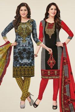 Salwar Studio Grey & Black Dress Material (Pack Of 2)