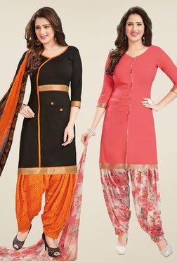 Salwar Studio Black & Peach Dress Material (Pack Of 2)