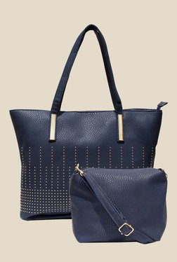 Joker & Witch Blue Textured Tote Bag With Sling Bag