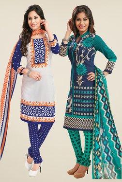 Salwar Studio White & Navy Dress Material (Pack Of 2)