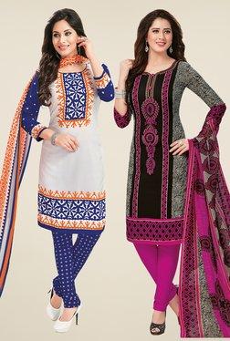 Salwar Studio White & Black Dress Material (Pack Of 2) - Mp000000000697440