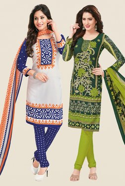 Salwar Studio White & Green Dress Material (Pack Of 2)