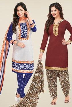 Salwar Studio White & Brown Dress Material (Pack Of 2)