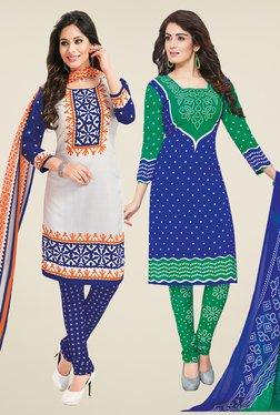Salwar Studio White & Blue Dress Material (Pack Of 2)