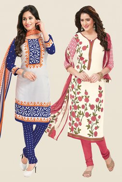 Salwar Studio White & Off White Dress Material (Pack Of 2)