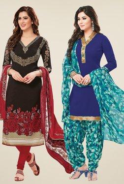 Salwar Studio Black & Blue Dress Material (Pack Of 2) - Mp000000000697483