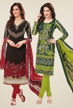 Salwar Studio Black & Green Dress Material (Pack Of 2)