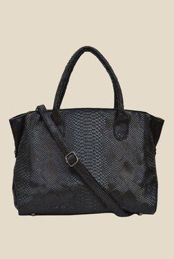 Joker & Witch Snake Skin Textured Black Shoulder Bag