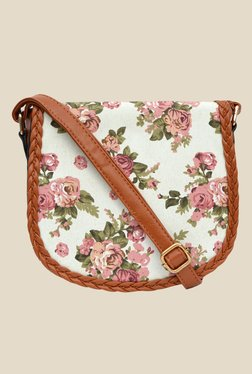 Joker & Witch Floral Braided Tan And White Sling Bag