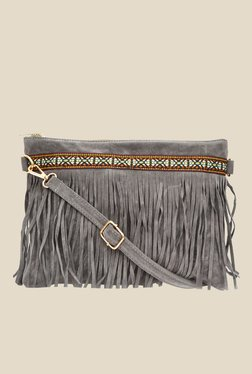 Joker & Witch Tribal Lace & Fringe Grey Sling Bag