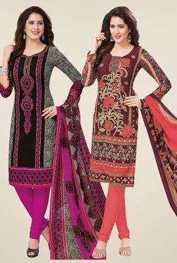 Salwar Studio Black & Brown Dress Material (Pack Of 2)
