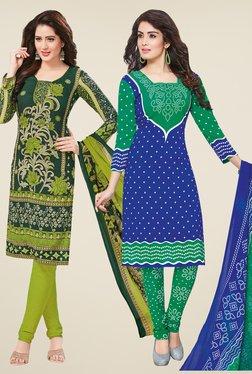 Salwar Studio Green & Blue Dress Material (Pack Of 2)
