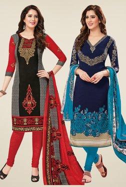 Salwar Studio Black & Navy Dress Material (Pack Of 2)