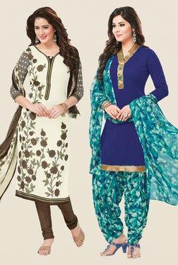 Salwar Studio Cream & Blue Dress Material (Pack Of 2)
