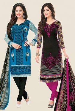 Salwar Studio Blue & Black Dress Material (Pack Of 2)
