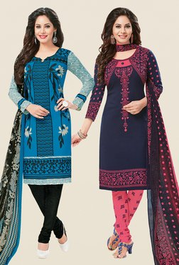 Salwar Studio Blue & Navy Dress Material (Pack Of 2)