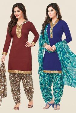 Salwar Studio Brown & Blue Dress Material (Pack Of 2)
