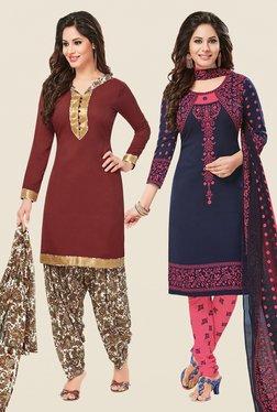Salwar Studio Brown & Navy Dress Material (Pack Of 2)