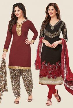 Salwar Studio Brown & Black Dress Material (Pack Of 2)