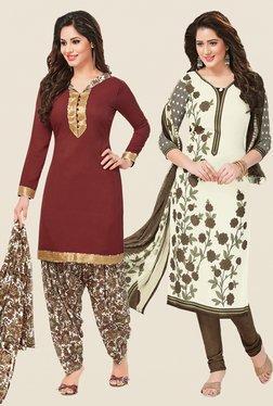 Salwar Studio Brown & Cream Dress Material (Pack Of 2)