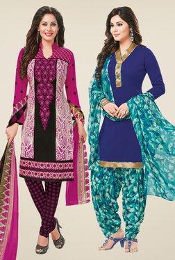 Salwar Studio Magenta & Blue Dress Material (Pack Of 2)