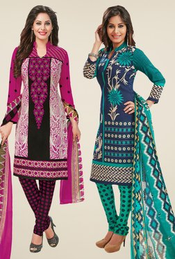 Salwar Studio Magenta & Navy Dress Material (Pack Of 2)