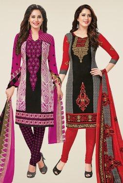 Salwar Studio Magenta & Black Dress Material (Pack Of 2)