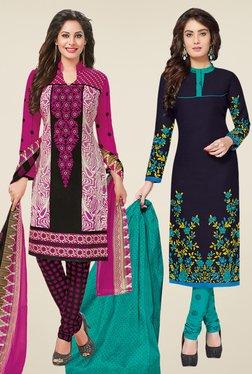 Salwar Studio Magenta & Navy Dress Material (Pack Of 2) - Mp000000000697892