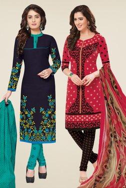 Salwar Studio Navy & Coral Dress Material (Pack Of 2) - Mp000000000697904