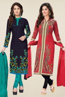 Salwar Studio Navy & Coral Dress Material (Pack Of 2) - Mp000000000697930