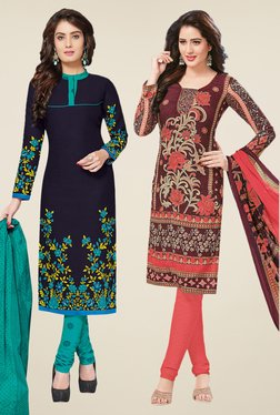 Salwar Studio Navy & Brown Dress Material (Pack Of 2)