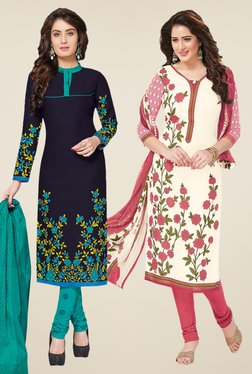 Salwar Studio Navy & Off White Dress Material (Pack Of 2)