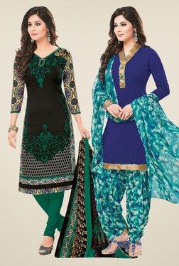 Salwar Studio Black & Blue Dress Material (Pack Of 2)