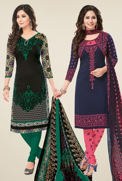Salwar Studio Black & Navy Dress Material (Pack Of 2) - Mp000000000697973