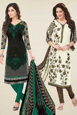 Salwar Studio Black & Cream Dress Material (Pack Of 2)