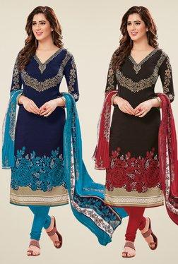 Salwar Studio Navy & Black Dress Material (Pack Of 2)
