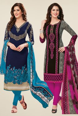 Salwar Studio Navy & Black Dress Material (Pack Of 2) - Mp000000000697992