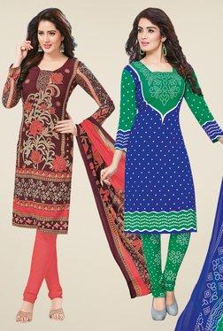 Salwar Studio Brown & Blue Dress Material (Pack Of 2) - Mp000000000698005