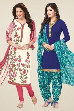 Salwar Studio Off White & Blue Dress Material (Pack Of 2)