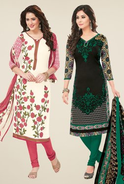 Salwar Studio Off White & Black Dress Material (Pack Of 2)