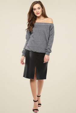 Femella Grey Off Shoulder Sweatshirt