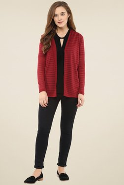 Femella Maroon Striped Cardigan
